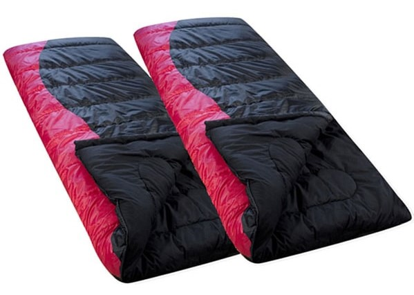 pink and black sleeping bag